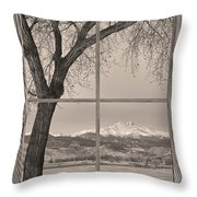 Longs Peak Winter Lake Barn Wood Picture Window Sepia View Throw Pillow