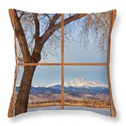 Longs Peak Winter Lake Barn Wood Picture Window View Throw Pillow