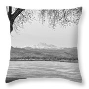 Longs Peak Winter View In Black And White Throw Pillow