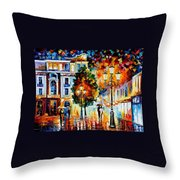 Lonley Couples - Palette Knife Oil Painting On Canvas By Leonid Afremov Throw Pillow