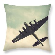 Look Up Vintage B-17 Flying Fortress Throw Pillow
