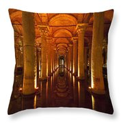 Looking Along Row Of Columns Throw Pillow