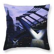 Looking Along The Millennium Bridge Throw Pillow