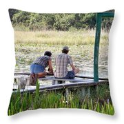 Looking At The Marsh Throw Pillow