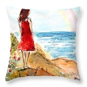 Looking At The Rainbow Throw Pillow