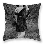 Looking Back In Black And White Throw Pillow