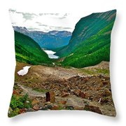Looking Back To Lake Louise From Trail To Plain Of Six Glaciers In Banff Np-ab  Throw Pillow