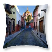 Looking Down Aldama Street, Mexico Throw Pillow