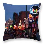 Looking Down Beale Street Memphis Throw Pillow