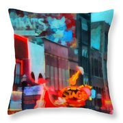 Looking Down Broadway In Nashville Tennessee Throw Pillow