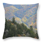 Looking Down On Autumn From The Top Of Smoky Mountains Throw Pillow