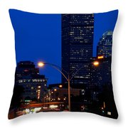Looking Down The Mass Pike From The Brookline Ave Bridge Throw Pillow