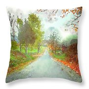 Looking Down The Road Throw Pillow