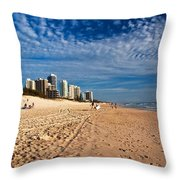 Looking North Along The Beach Throw Pillow