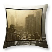 Looking Out On A Snowy Day - Nyc Throw Pillow