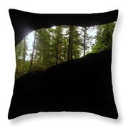Looking Outside Boulder Cave Throw Pillow