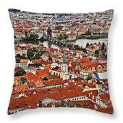 Looking Over Prague Throw Pillow