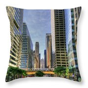 Looking South On Lasalle Throw Pillow