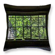 Looking Through Old Basement Window On To Vibrant Green Foliage Fine Art Photography Print  Throw Pillow