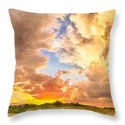 Looking Through The Colorful Sunset To Blue Throw Pillow