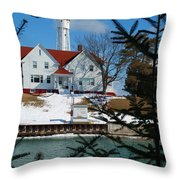 Looking Through The Pines - Sturgeon Bay Coast Guard Station Throw Pillow
