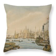 Looking Towards London Bridge Throw Pillow by William Parrot