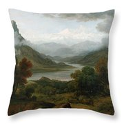Looking Towards The Val Daosta, Bernese Throw Pillow