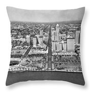 Looking Up Flagler Street At Downtown Miami Throw Pillow