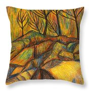 Looking Up In Yellow Light Throw Pillow