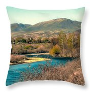 Looking Up The Payette River Throw Pillow