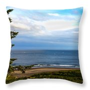 Looking West At The Fishing Boats Throw Pillow