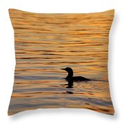 Loon At Sunset 6958 Throw Pillow