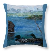 Loon Family And Morning Mist Throw Pillow