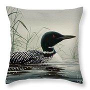 Loon Near The Shore Throw Pillow by James Williamson