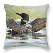 Loon Wing Spread With Chick Throw Pillow