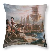 Lord Howe Organizes The British Evacuation Of Boston In March 1776 Throw Pillow by English School
