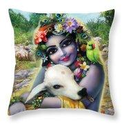 Lord Krishna On The Govardhan Throw Pillow