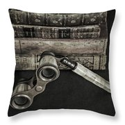 Lorgnette With Books Throw Pillow