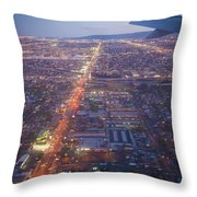 Los Angeles Aerial Overview On Approach To Lax At Night  Throw Pillow