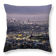 Los Angeles At Night From The Griffith Park Observatory Throw Pillow