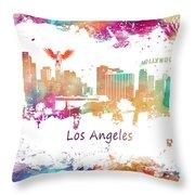 Los Angeles California Skyline Colored Throw Pillow