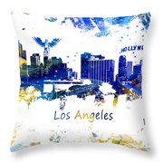 Los Angeles California Skyline Yellow Blue Throw Pillow