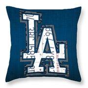Los Angeles Dodgers Baseball Vintage Logo License Plate Art Throw Pillow