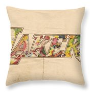 Los Angeles Lakers Logo Art Throw Pillow