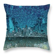 Los Angeles Skyline Abstract 5 Throw Pillow