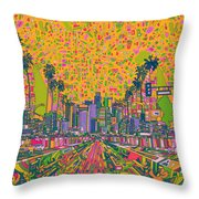 Los Angeles Skyline Abstract Throw Pillow