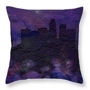 Los Angeles Skyline Brick Wall Mural Throw Pillow