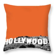 Los Angeles Skyline Hollywood - Coral Throw Pillow