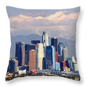 Los Angeles Skyline With Mountains In Background Throw Pillow