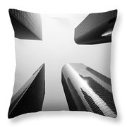 Los Angeles Skyscraper Buildings In Black And White Throw Pillow by Paul Velgos